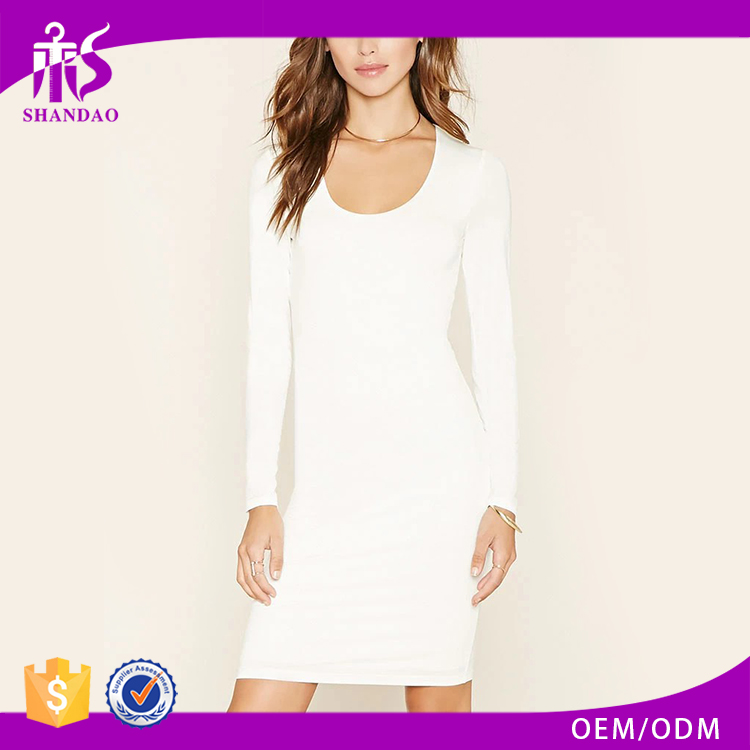 Guangzhou Supplier Latest Model Good Quality Autumn Long Sleeve White Lycra Evening Dresses