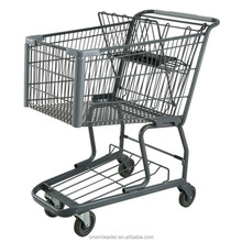 Supermarket unfolding Metal Steel Trolly Shopping Cart with 4 wheels