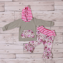 Wholesale Baby Clothes Children Hoodie Top With Ruffle Pants Outfits Girls Fall Floral Set Kids Back To School Clothing