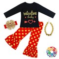 Kids Girls Print Long Sleeve T Shirt And Polka Dots Ruffle Pants 4PCS Valentine Outfits