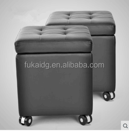 Cube foot stool upholstered footrest storage leather ottoman with wheels for home furniture