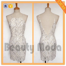 Europe style sexy deep neck lace spaghetti strap party dress for ladies women