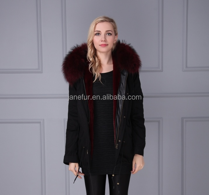 Janefur Plus Size Jacket Parka With Fake Fur Lining Luxury Colorful Raccoon Fur Hood
