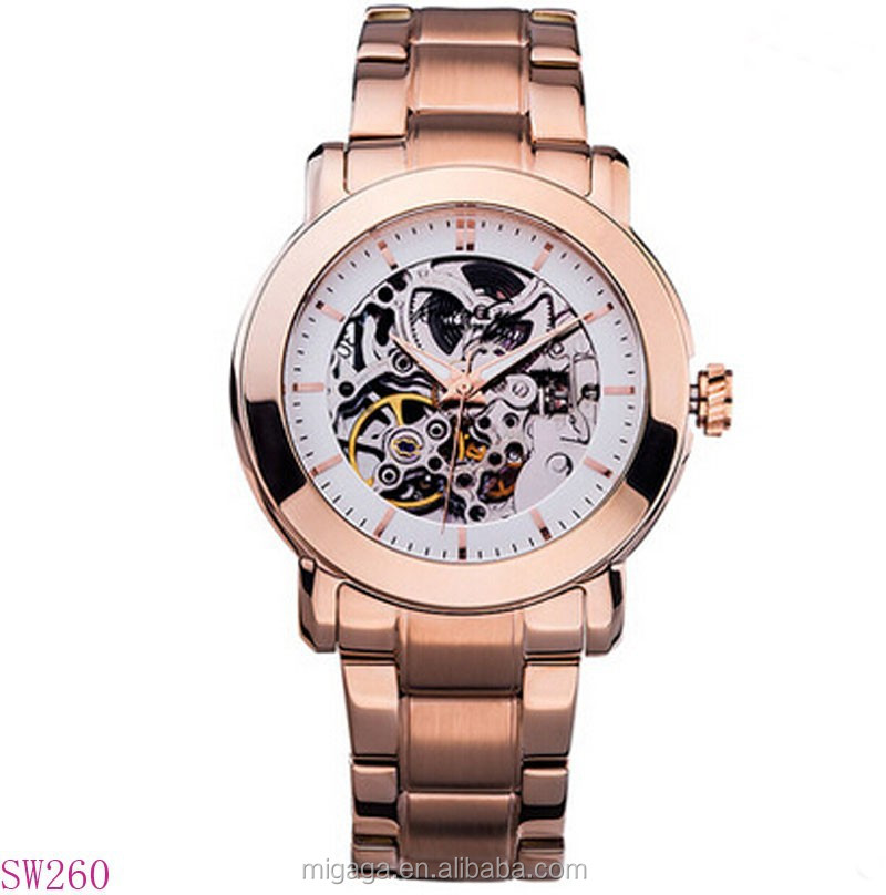 Full see through case back skeleton dial women automatic mechanical watch