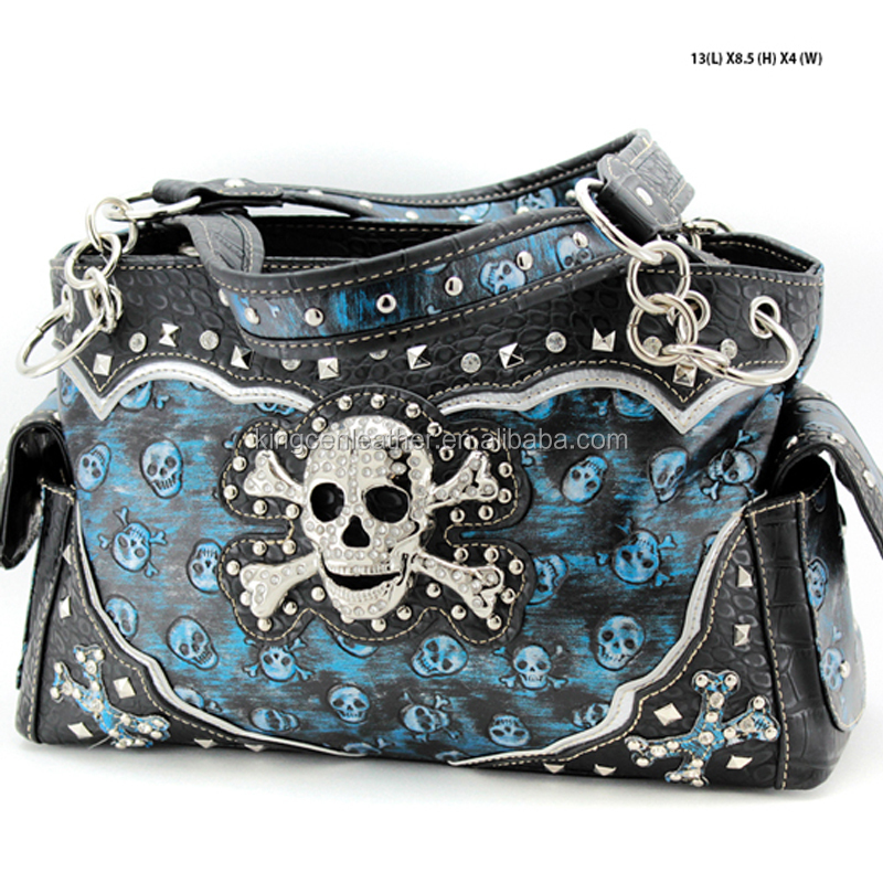 WESTERN STYLE RHINESTONE STUDDED CONCEALED WEAPON SKULL PURSE
