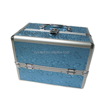 durable rolling aluminum makeup case with logo printed