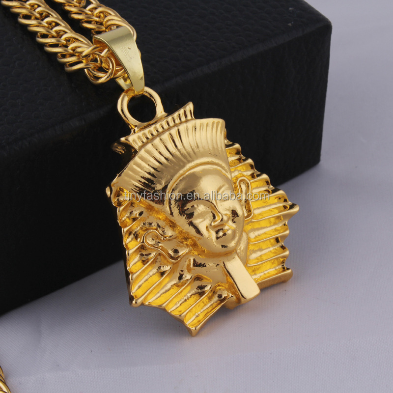 18k gold long chain hiphop gorgon head iconic signet <strong>necklace</strong> for men