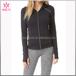 Plain Black Bodybuilding Women Fitness Sports Clothing Custom Zip Up Hoodie Jacket With Logo Wholesale