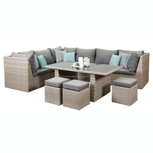 GREAT Best selling outdoor rattan garden furniture sofa set with colorful dining sofa cushion and stool