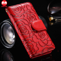 Manufacturer Wholesale Luxury Card Slots Stand Magnetic Flip Folio PU Flower Camellia Wallet Leather Case For Iphone Se 6 Plus