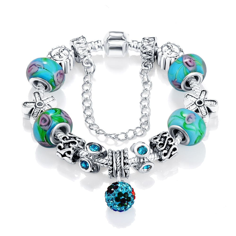 LZESHINE Romatic Lampwork Glass Bracelet Women Silver Murano Glass Bracelet Accessories For Sale PCBR0031