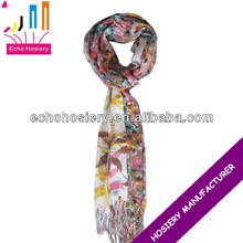 Floral printed viscose wholesale chevron scarf