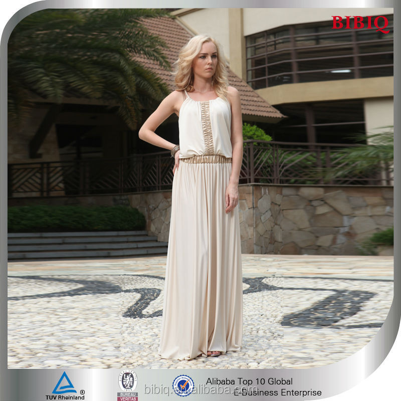New Fashion Women Ivory Long Chiffon Cheap Arabic Style Prom Dresses