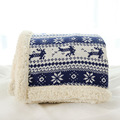 Christmas gift 2017,winter home textile acrylic deer snow jacquard chunky sofa tv knit throw thick sherpa blanket