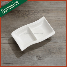 Japanese style white ceramic 2 compartment sushi mustard soy sauce dish