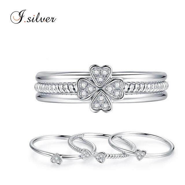 Wholesale CZ diamond silver four leaf clover ring set AR10226