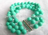 Fashion jewelry, green round natural turquoise bracelet with 925 sterling silver clasp