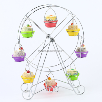 Metal Romantic Ferris Wheel Cupcake Display Rack Holder Wire Stand, Wedding/ Party Dessert Chrome & Copper