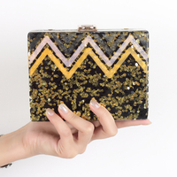 China Factory 2015 Handmade Women Envelop Box Clutches Acrylic Bag Fashon Multi Color Striped Box Clutch