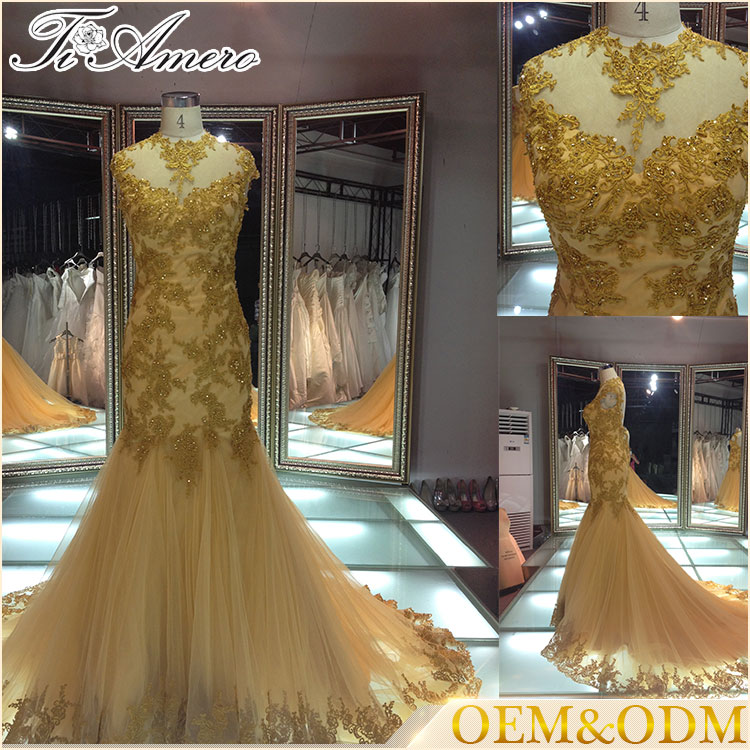 2017 mermaid open back lace applique evening dress gown/luxury gold Cap straps arabic style beaded evening dress