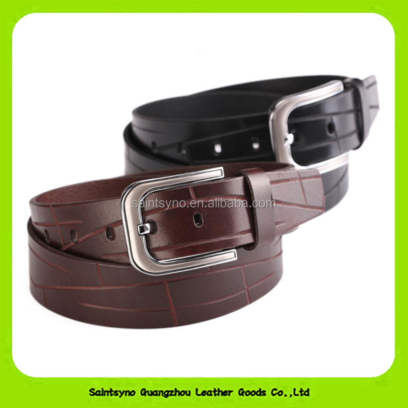 SSBL16-243 Classic Leather Belt Men Leather Covered Belt Buckle