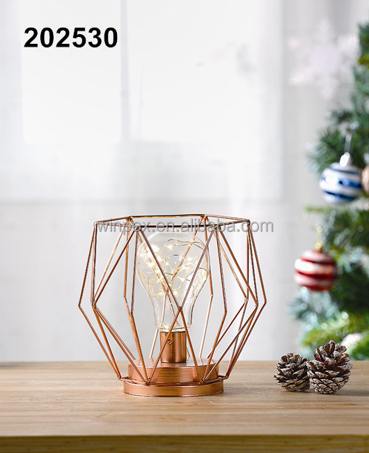 Rose Gold Metal Geometric Lanterns With Glass Bulb Installed