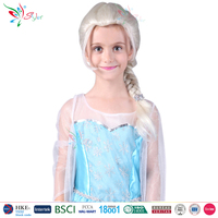 children party halloween wigs synthetic hair for kids snow queen frozen elsa wig