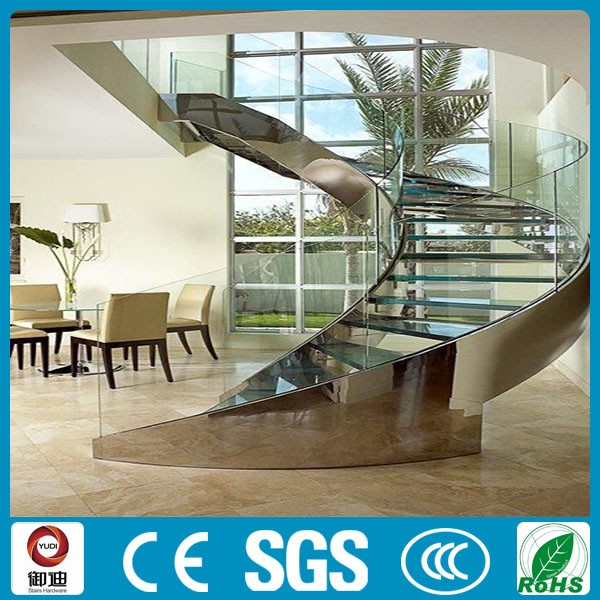 prefab metal frame glass arc curved stairs