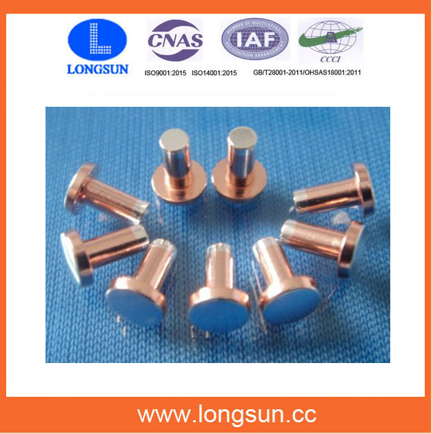 Stable Electrical Trimetal Silver Copper Contact Rivets for Timer Motors