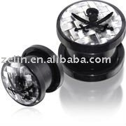 Screw Fit ear Flesh Tunnel with Skull Logo,body jewelry,fashion jewelry