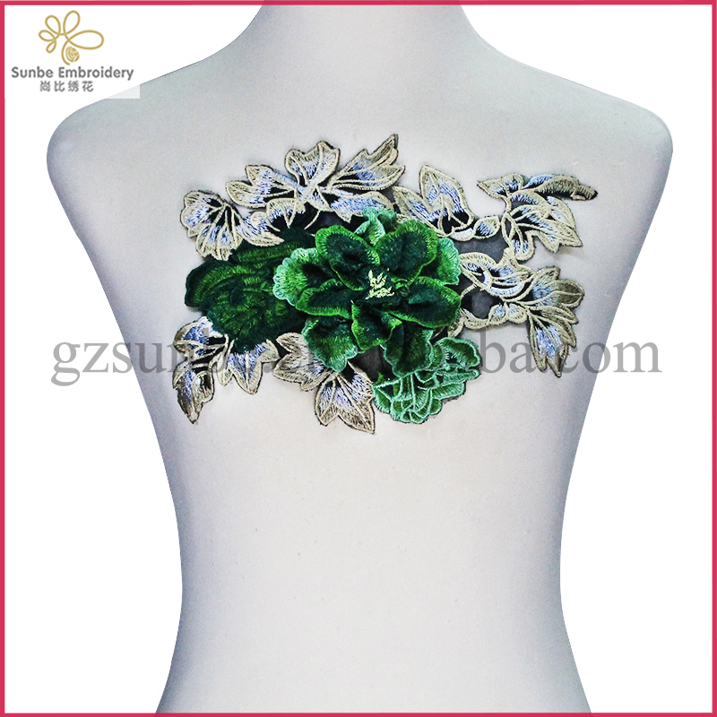 3D Green Motif Applique Embroidery Lace Patches Trimming Motif Venise Sew on Clothes Decorated Craft Sewing can be customized