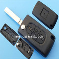 Keyless Entry Remote Car Key Fob 3 buttons remote key shell trunk button with battery clamp without groove blade(CE0536) Peugeot