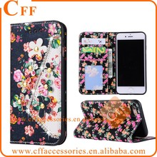 For iPhone 6 6G 6S Floral Magnetic Flip Leather Case Diamonds pearls Flowers Wallet Stand Case with Card Slots