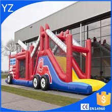Inflatable Obstacle run fire truck 17.5m For Commercial