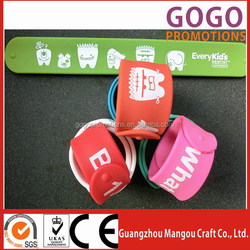 custom slap wristband/bangle & rubber band & fashion silicone bracelet