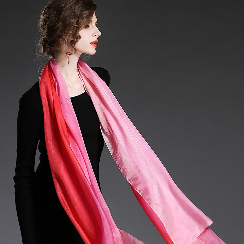 Hand painted silk gradient color scarf shawl