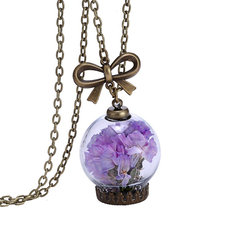 Dry Flower Necklace Real Flower Bottle Pendant Necklace