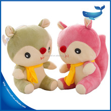 Wholesale Costomized logo Plush squirrel with bell soft stuffed cartoon husky toys lovely cartoon animal dog dolls