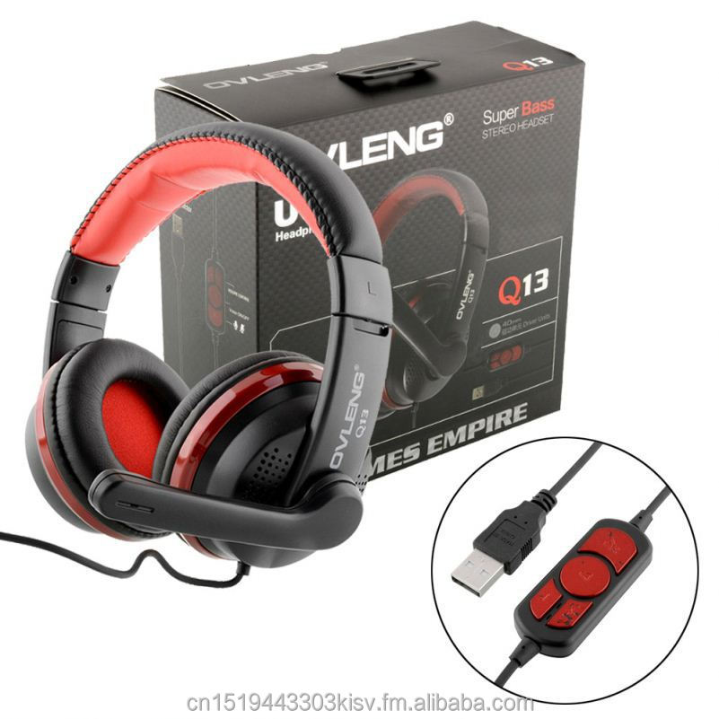 Ovleng <strong>Q13</strong> black Adjustable Headset USB Headphones game With Mic Gaming