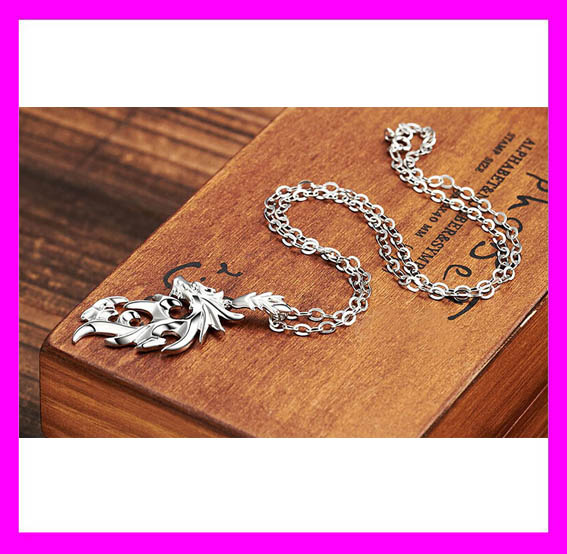 Hot sale stainless steel chain men silver dragon pendant necklace HD1278