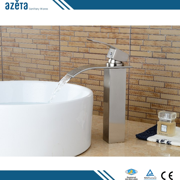China Cheap High Brush Nickel Faucet Brass Bathroom Wash Basin Faucet