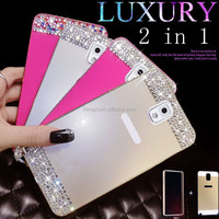 2 in 1 Metal Aluminum Frame Anti-scratch Rhinestone Bling Diamond Cover Case For Samsung Galaxy note 3 note 4 S3 S4 S5 I9200