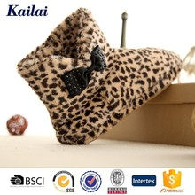 Magic leopard printed wellington half ankle boot with lovely bowknot