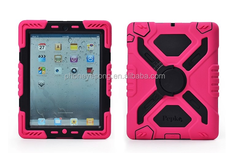 Waterproof case for ipad, silicon pc with kickstand case for tablet