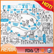 RENJIA custom silicone kitchen mats kids dining table mat kiddy mats