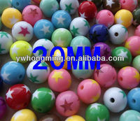 2013 Newest DIY Chunky necklace accessories solid acrylic beads,20mm loose round acrylic beads star pattern wholesale!