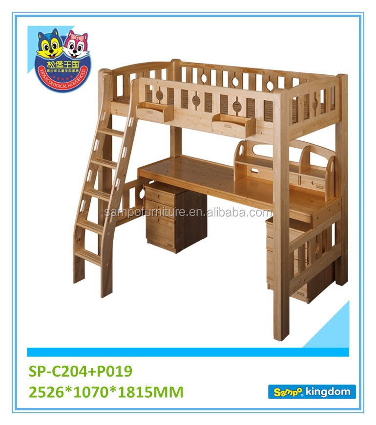 Kids Children Loft Bed With Study Table Sets Natural Color Customized Accepted