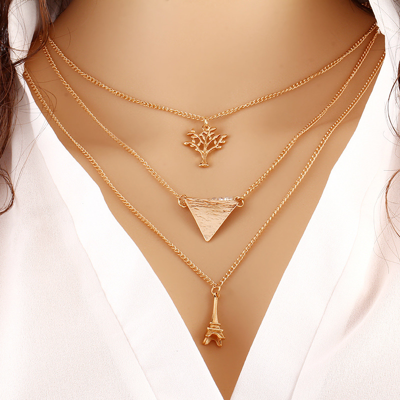 Hot sale gold plated multiply simple design tree tower short necklace fashion jewelry TS1089
