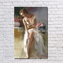 White dressing women hand drawing sex photo oil painting for bedroom decoration hand painting sexy picture women
