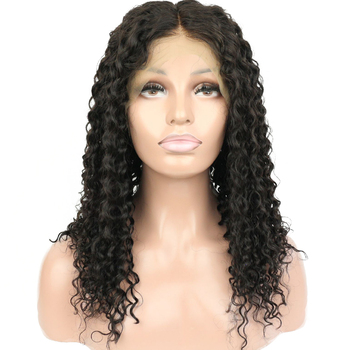 Virgin peruvian remy human hair kinky curly lace front wig with baby hair for black women